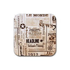 Vintage Newspapers Headline Typography Rubber Coaster (square)  by yoursparklingshop
