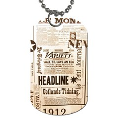 Vintage Newspapers Headline Typography Dog Tag (one Side) by yoursparklingshop