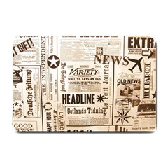 Vintage Newspapers Headline Typography Small Doormat  by yoursparklingshop