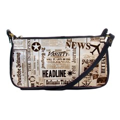 Vintage Newspapers Headline Typography Shoulder Clutch Bags by yoursparklingshop