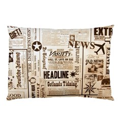 Vintage Newspapers Headline Typography Pillow Case (two Sides) by yoursparklingshop