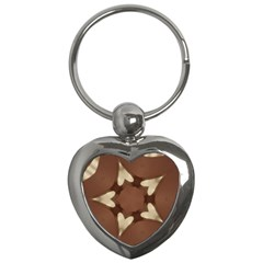 Chocolate Brown Kaleidoscope Design Star Key Chains (heart)  by yoursparklingshop