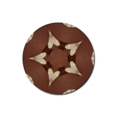 Chocolate Brown Kaleidoscope Design Star Rubber Coaster (round)  by yoursparklingshop