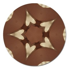 Chocolate Brown Kaleidoscope Design Star Magnet 5  (round) by yoursparklingshop