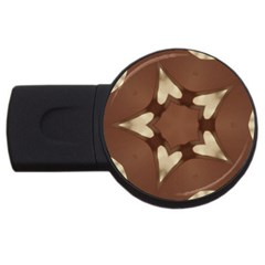 Chocolate Brown Kaleidoscope Design Star Usb Flash Drive Round (2 Gb) by yoursparklingshop