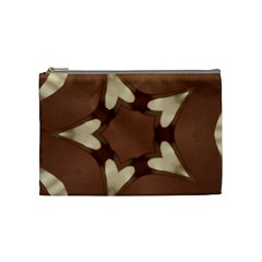 Chocolate Brown Kaleidoscope Design Star Cosmetic Bag (medium)  by yoursparklingshop