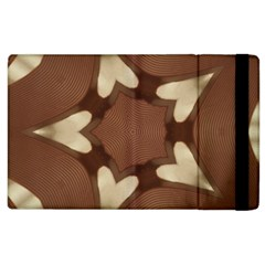 Chocolate Brown Kaleidoscope Design Star Apple Ipad 2 Flip Case by yoursparklingshop