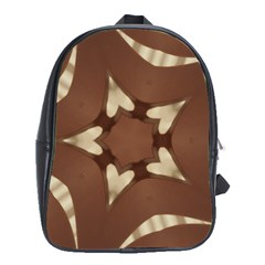 Chocolate Brown Kaleidoscope Design Star School Bag (xl) by yoursparklingshop