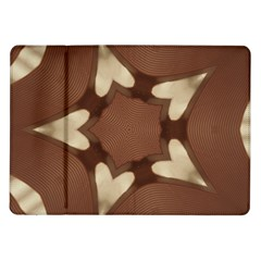 Chocolate Brown Kaleidoscope Design Star Samsung Galaxy Tab 10 1  P7500 Flip Case by yoursparklingshop