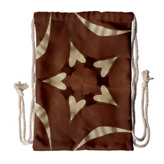 Chocolate Brown Kaleidoscope Design Star Drawstring Bag (large) by yoursparklingshop