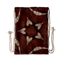 Chocolate Brown Kaleidoscope Design Star Drawstring Bag (small) by yoursparklingshop