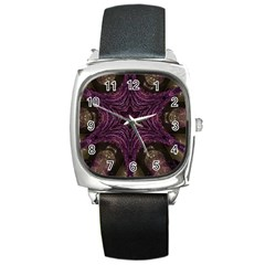 Pink Purple Kaleidoscopic Design Square Metal Watch by yoursparklingshop