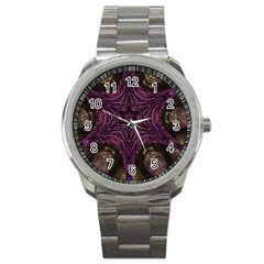 Pink Purple Kaleidoscopic Design Sport Metal Watch by yoursparklingshop