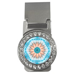 Clean And Pure Turquoise And White Fractal Flower Money Clips (cz)  by jayaprime