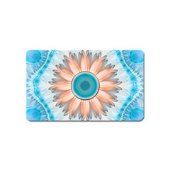 Clean And Pure Turquoise And White Fractal Flower Magnet (name Card) by jayaprime