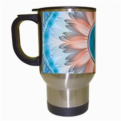 Clean And Pure Turquoise And White Fractal Flower Travel Mugs (white) by jayaprime