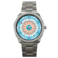 Clean And Pure Turquoise And White Fractal Flower Sport Metal Watch