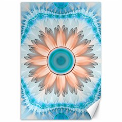Clean And Pure Turquoise And White Fractal Flower Canvas 12  X 18   by jayaprime