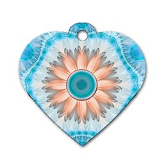 Clean And Pure Turquoise And White Fractal Flower Dog Tag Heart (two Sides) by jayaprime