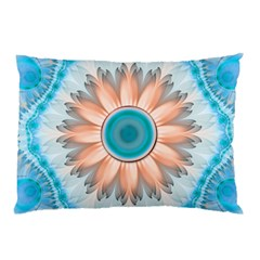 Clean And Pure Turquoise And White Fractal Flower Pillow Case by jayaprime