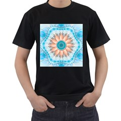 Clean And Pure Turquoise And White Fractal Flower Men s T Shirt (black) by jayaprime