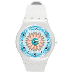 Clean And Pure Turquoise And White Fractal Flower Round Plastic Sport Watch (m) by jayaprime
