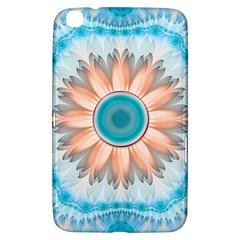 Clean And Pure Turquoise And White Fractal Flower Samsung Galaxy Tab 3 (8 ) T3100 Hardshell Case  by jayaprime