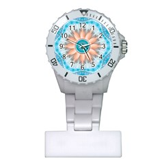 Clean And Pure Turquoise And White Fractal Flower Plastic Nurses Watch by jayaprime