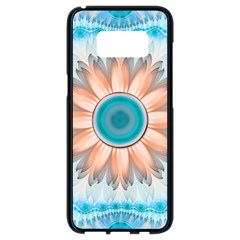 Clean And Pure Turquoise And White Fractal Flower Samsung Galaxy S8 Black Seamless Case by jayaprime