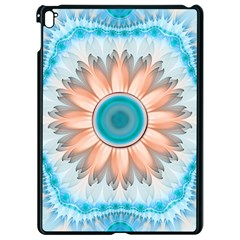 Clean And Pure Turquoise And White Fractal Flower Apple Ipad Pro 9 7   Black Seamless Case by jayaprime