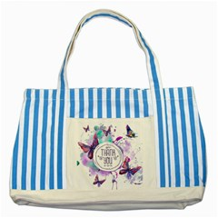Thank You Striped Blue Tote Bag by Celenk