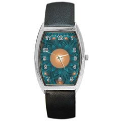 Beautiful Orange Teal Fractal Lotus Lily Pad Pond Barrel Style Metal Watch by jayaprime