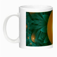 Beautiful Orange Teal Fractal Lotus Lily Pad Pond Night Luminous Mugs by jayaprime