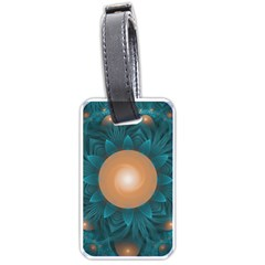 Beautiful Orange Teal Fractal Lotus Lily Pad Pond Luggage Tags (one Side)  by jayaprime