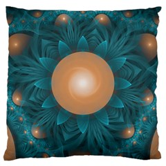 Beautiful Orange Teal Fractal Lotus Lily Pad Pond Large Cushion Case (two Sides) by jayaprime