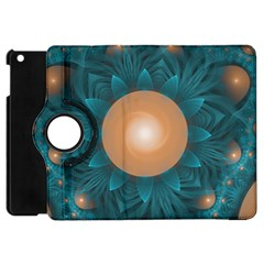 Beautiful Orange Teal Fractal Lotus Lily Pad Pond Apple Ipad Mini Flip 360 Case by jayaprime