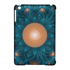 Beautiful Orange Teal Fractal Lotus Lily Pad Pond Apple Ipad Mini Hardshell Case (compatible With Smart Cover) by jayaprime
