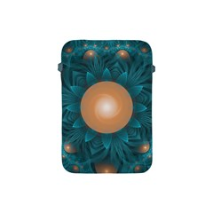 Beautiful Orange Teal Fractal Lotus Lily Pad Pond Apple Ipad Mini Protective Soft Cases by jayaprime
