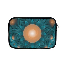 Beautiful Orange Teal Fractal Lotus Lily Pad Pond Apple Macbook Pro 13  Zipper Case by jayaprime