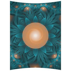 Beautiful Orange Teal Fractal Lotus Lily Pad Pond Back Support Cushion by jayaprime