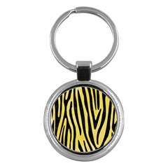 Skin4 Black Marble & Yellow Watercolor (r) Key Chains (round)  by trendistuff