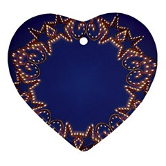 Blue Gold Look Stars Christmas Wreath Ornament (heart) by yoursparklingshop