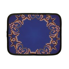 Blue Gold Look Stars Christmas Wreath Netbook Case (small)  by yoursparklingshop