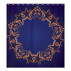 Blue Gold Look Stars Christmas Wreath Shower Curtain 66  X 72  (large)  by yoursparklingshop