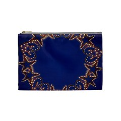 Blue Gold Look Stars Christmas Wreath Cosmetic Bag (medium)  by yoursparklingshop