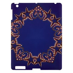 Blue Gold Look Stars Christmas Wreath Apple Ipad 3/4 Hardshell Case by yoursparklingshop