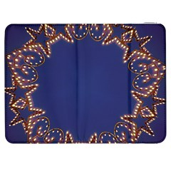 Blue Gold Look Stars Christmas Wreath Samsung Galaxy Tab 7  P1000 Flip Case by yoursparklingshop