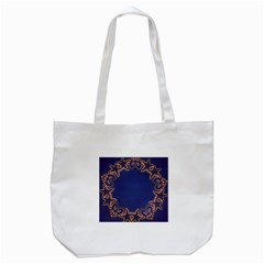 Blue Gold Look Stars Christmas Wreath Tote Bag (white) by yoursparklingshop