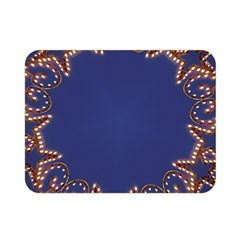 Blue Gold Look Stars Christmas Wreath Double Sided Flano Blanket (mini)  by yoursparklingshop