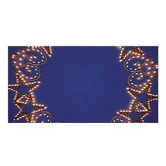 Blue Gold Look Stars Christmas Wreath Satin Shawl